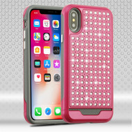 Luxury Bling Diamond Hybrid Case for iPhone X - Hot Pink