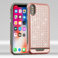 Luxury Bling Diamond Hybrid Case for iPhone X - Rose Gold
