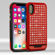 Luxury Bling Diamond Hybrid Case for iPhone X - Red