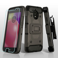 3-IN-1 Kinetic Hybrid Armor Case with Holster and Tempered Glass Screen Protector for Motorola Moto E4 - Dark Grey