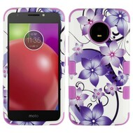 Military Grade Certified TUFF Image Hybrid Armor Case for Motorola Moto E4 - Purple Hibiscus Flower Romance