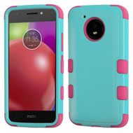 Military Grade Certified TUFF Hybrid Armor Case for Motorola Moto E4 - Teal Green Hot Pink