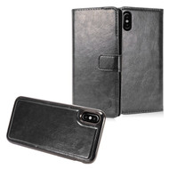 *SALE* 2-IN-1 Premium Leather Wallet with Detachable Magnetic Case for iPhone X - Black