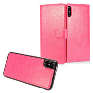 2-IN-1 Premium Leather Wallet with Detachable Magnetic Case for iPhone X - Hot Pink
