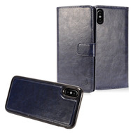 2-IN-1 Premium Leather Wallet with Detachable Magnetic Case for iPhone X - Navy Blue