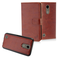2-IN-1 Premium Leather Wallet with Detachable Magnetic Case for LG K20 Plus / K20 V / K10 (2017) / Harmony - Brown
