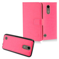 2-IN-1 Premium Leather Wallet with Detachable Magnetic Case for LG K20 Plus / K20 V / K10 (2017) / Harmony - Hot Pink