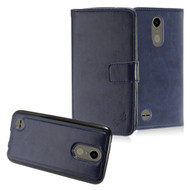2-IN-1 Premium Leather Wallet with Detachable Magnetic Case for LG K20 Plus / K20 V / K10 (2017) / Harmony - Navy Blue