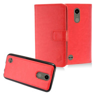 *SALE* 2-IN-1 Premium Leather Wallet with Detachable Magnetic Case for LG K20 Plus / K20 V / K10 (2017) / Harmony - Red
