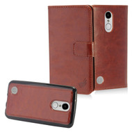 2-IN-1 Premium Leather Wallet with Detachable Magnetic Case for LG Aristo / Fortune / K8 2017 / Phoenix 3 - Brown
