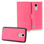 2-IN-1 Premium Leather Wallet with Detachable Magnetic Case for LG Aristo / Fortune / K8 2017 / Phoenix 3 - Hot Pink