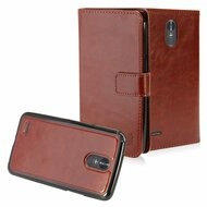 2-IN-1 Premium Leather Wallet with Detachable Magnetic Case for LG Stylo 3 / Stylo 3 Plus - Brown