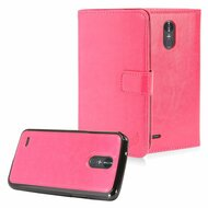 2-IN-1 Premium Leather Wallet with Detachable Magnetic Case for LG Stylo 3 / Stylo 3 Plus - Hot Pink