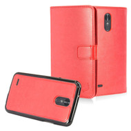 2-IN-1 Premium Leather Wallet with Detachable Magnetic Case for LG Stylo 3 / Stylo 3 Plus - Red