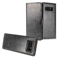 *SALE* 2-IN-1 Premium Leather Wallet with Detachable Magnetic Case for Samsung Galaxy Note 8 - Black