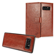 2-IN-1 Premium Leather Wallet with Detachable Magnetic Case for Samsung Galaxy Note 8 - Brown