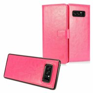 2-IN-1 Premium Leather Wallet with Detachable Magnetic Case for Samsung Galaxy Note 8 - Hot Pink