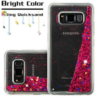 Quicksand Glitter Transparent Case for Samsung Galaxy S8 Active - Hot Pink