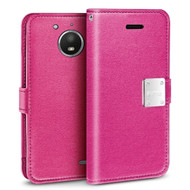 *Sale* Essential Leather Wallet Case for Motorola Moto E4 - Hot Pink