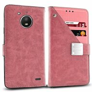 *Sale* Cosmopolitan Leather Canvas Wallet Case for Motorola Moto E4 - Pink