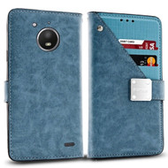 Cosmopolitan Leather Canvas Wallet Case for Motorola Moto E4 - Blue