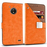 *SALE* Cosmopolitan Leather Canvas Wallet Case for Motorola Moto E4 - Orange