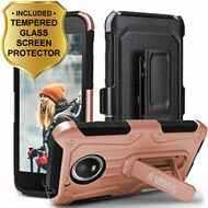 Heavy Duty Dual Layer Hybrid Armor Case + Holster + Tempered Glass Screen Protector for Motorola Moto E4 - Rose Gold