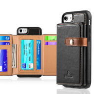 Heritage Leather Case with Attached Tri-Fold Wallet for iPhone 8 / 7 / 6S / 6 - Black