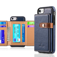 Heritage Leather Case with Attached Tri-Fold Wallet for iPhone 8 / 7 / 6S / 6 - Navy Blue