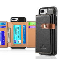 *Sale* Heritage Leather Case with Attached Tri-Fold Wallet for iPhone 8 Plus / 7 Plus / 6S Plus / 6 Plus - Black
