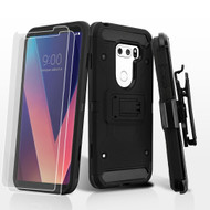 3-IN-1 Kinetic Hybrid Armor Case with Holster and Screen Protector for LG V30 / V30+ - Black