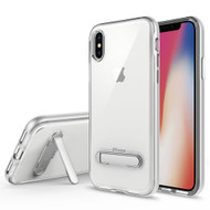 Bumper Shield Clear Transparent TPU Case with Magnetic Kickstand for iPhone X - Silver