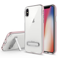 Bumper Shield Clear Transparent TPU Case with Magnetic Kickstand for iPhone X - Rose Gold