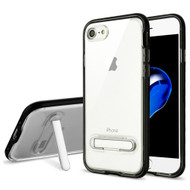 Bumper Shield Clear Transparent TPU Case with Magnetic Kickstand for iPhone 8 / 7 - Black