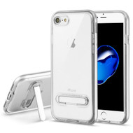 *Sale* Bumper Shield Clear Transparent TPU Case with Magnetic Kickstand for iPhone 8 / 7 - Silver