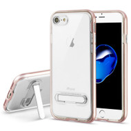 Bumper Shield Clear Transparent TPU Case with Magnetic Kickstand for iPhone 8 / 7 - Rose Gold