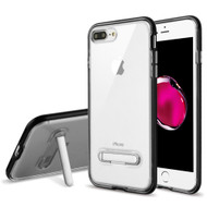 Bumper Shield Clear Transparent TPU Case with Magnetic Kickstand for iPhone 8 Plus / 7 Plus - Black