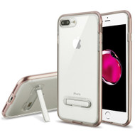 Bumper Shield Clear Transparent TPU Case with Magnetic Kickstand for iPhone 8 Plus / 7 Plus - Rose Gold