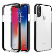 Crystal Clear Transparent TPU Case with Bumper Reinforcement for iPhone X - Black