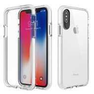 Crystal Clear Transparent TPU Case with Bumper Reinforcement for iPhone X - White
