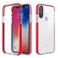 Crystal Clear Transparent TPU Case with Bumper Reinforcement for iPhone X - Red