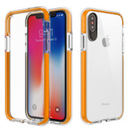 Crystal Clear Transparent TPU Case with Bumper Reinforcement for iPhone X - Orange