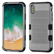 Military Grade Certified Brushed TUFF Hybrid Armor Case for iPhone X - Dark Grey