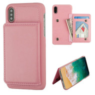 Pocket Wallet Case with Card Stand for iPhone X - Pink