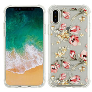 Klarity Premium Transparent Anti-Shock TPU Case for iPhone X - Painted Flowers