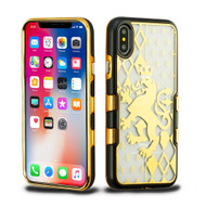 TUFF Panoview Transparent Hybrid Case for iPhone X - Gold Lion Crest