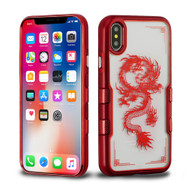 TUFF Panoview Transparent Hybrid Case for iPhone X - Red Chinese Dragon