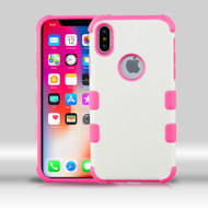 Military Grade Certified TUFF Merge Hybrid Armor Case for iPhone X - Cream White Hot Pink