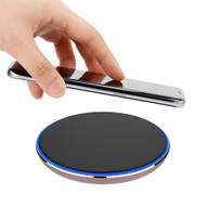 Aluminum Wireless Charger Qi Inductive Charging Pad - Black