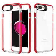 Crystal Clear Transparent TPU Case with Bumper Reinforcement for iPhone 8 Plus / 7 Plus - Red